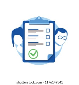 Prenuptial agreement document, couple divorce, check list clipboard, sociology concept, questionnaire form, vector flat icon. Meeting husband and wife to sign agreement divorce papers. End of marriage