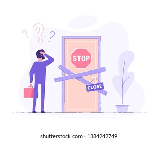 Preoccupied business man is standing near the closed door and scratching his head. Metaphor of issues and questions. Modern vector illustration.