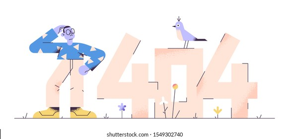 Preoccupied young adult man is standing near huge numbers 404 and scratching his head. 404 error page not found. Modern vector illustration for web banner.