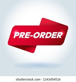 PRE-ORDER arrow tag sign.