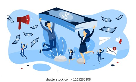 Prepaid expense concept. Making business payment for goods to be received in the future. Financial operations. Happy people with money. Isolated flat vector illustration