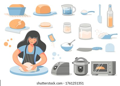 Preparation of homemade bread. A young woman kneads dough. Set of icons - ready-made baking, ingredients for the recipe, dishes and appliances for baking (Bread Machine, Multicooker, oven).