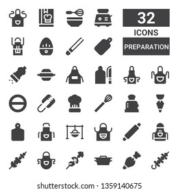 preparation icon set. Collection of 32 filled preparation icons included Skewer, Pastry bag, Dutch oven, Apron, Rolling pin, Cooking, Cutting board, Toaster, Whisk, Tongs, Salt