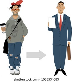 Preparation to a job interview for a young man, EPS 8 vector illustration