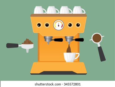 prepare coffee machine for make coffee by barista vector illustration.