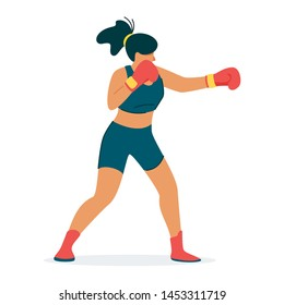 Preparing for championship, competition flat vector concept. Boxer, kickboxer champion training cartoon character design. Coach, trainer showing proper, good technique illustration