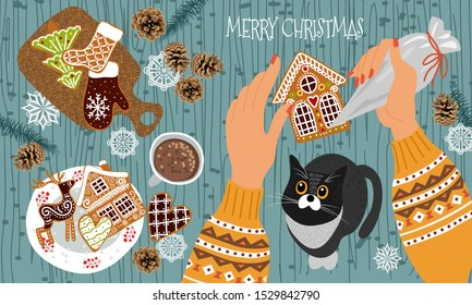 Preparing for Christmas and New Year. Cute flat vector illustration - hands with a pastry bag decorate gingerbread cookies with icing and cat watching the process. Top view,