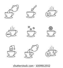 Preparing tea vector icons set outline style. Editable stroke