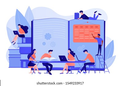 Preparing test together. Learning and studying with friends. Effective revision, revision timetables and planning, how to revise for exams concept. Pinkish coral bluevector isolated illustration