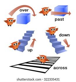 Preposition Grammar With Owl Motion Of Preschool