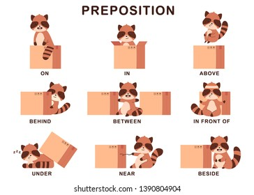Preposition of place illustration with cute raccoon and box. Vector cartoon set isolated on a white background.