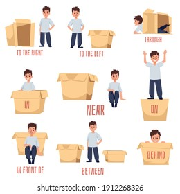 Prepositions of place for preschool and language studying, flat vector illustration isolated on white background. Worksheet for English grammar studying.