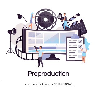 Preproduction flat concept icon. Videography and filmmaking sticker, clipart. Director, producer and cameraman crew. Video and movie production Isolated cartoon illustration on white background
