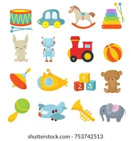 Preschool children toys isolated vector cartoon set. Toy child, ball and pyramid, bear and rabbit illustration