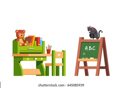 Preschool classroom interior design education desk, chair and blackboard. Kid room decoration and furniture with books & toys. Cat sitting on green board and licking. Flat vector isolated illustration