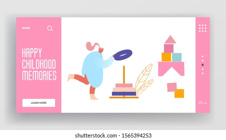 Preschool Development and Activity Website Landing Page. Adult Woman Building Stack Up Ring Pyramid Toy. Babysitter Playing Educational Game Child Web Page Banner. Cartoon Flat Vector Illustration