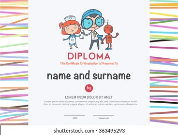 Preschool Elementary school Kids Diploma certificate and hand draw icons education.