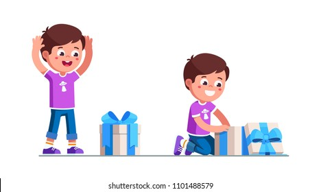 Preschool girl kid happy to found birthday gift box. Excited kid receiving and unpacking gift box with ribbon bow. Child cartoon characters. Childhood and holiday. Flat vector isolated illustration
