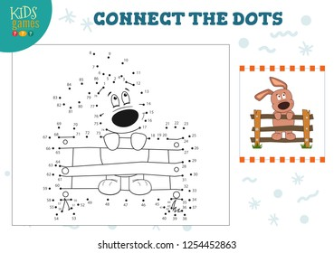 Preschool kids activity with connect the dots game vector illustration. Joining dot to dot by numbers and coloring cartoon dog character