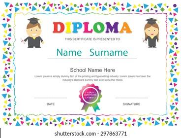 Preschool kids diploma certificate elementary school design template background