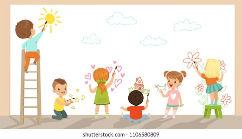Preschool kids painting with brushes and paints on white wall vector Illustration