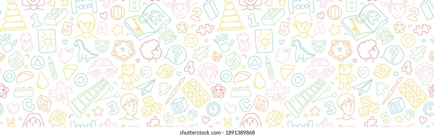 Preschool kindergarten line vector illustration seamless pattern. Educational toys doodle drawing. Thin line icons flat style