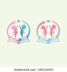 Preschool Kindergarten Logo with Boy And Girl Vector