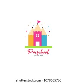 Preschool, kindergarten, playgroup logo icon design template. Children school vector illustration