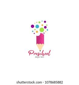 Preschool, kindergarten, playgroup logo icon design template. Children school vector illustration