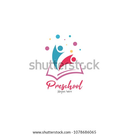 Preschool Kindergarten Playgroup Logo Icon Design Template Children School Vector Illustration