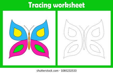 Preschool or kindergarten tracing worksheet with dashed lines for practicing fine motor skills. Trace line educational game for kids.