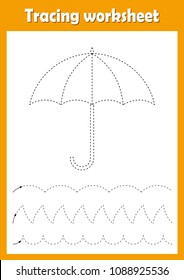 Preschool or kindergarten tracing worksheet with dashed lines for practicing fine motor skills. Trace line educational game for kids. A4 handwriting  practice sheet. Umbrella vector illustration.