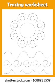 Preschool or kindergarten tracing worksheet with dashed lines for practicing fine motor skills. Trace line educational game for kids. A4 handwriting  practice sheet. Flower vector illustration.