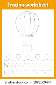 Preschool or kindergarten tracing worksheet with dashed lines for practicing fine motor skills. Trace line educational game for kids. A4 handwriting  practice sheet. Air balloon vector illustration.