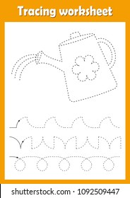 Preschool or kindergarten tracing worksheet with dashed lines for practicing fine motor skills. Trace line educational game for kids. A4 handwriting  practice sheet. Watering can vector illustration.
