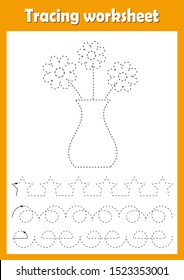 Preschool or kindergarten tracing worksheet with dashed lines for practicing fine motor skills. Trace line educational game for kids. A4 handwriting  practice sheet. Vase, flowers vector illustration.