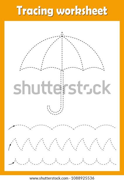 Preschool Kindergarten Tracing Worksheet Dashed Lines Stock Vector