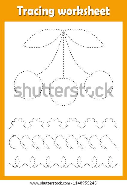 Preschool Kindergarten Tracing Worksheet Dashed Lines Stock Vector (Royalty  Free) 1148955245