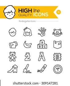 Preschool Line Icons Series