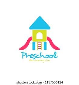 Preschool logo design. Kindergarten icon template. Play group education vector illustration
