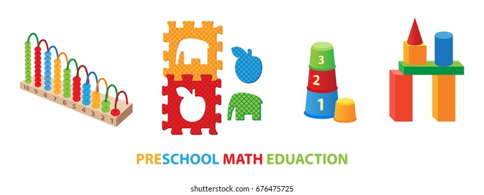 Preschool math educational toys, Puzzle and pyramid, blocks and wire maze, abacus.