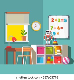 Preschool or school student kid room interior. Study desk at the window, storage combination with drawer boxes, some toys books and robot. With Flat style vector illustration.
