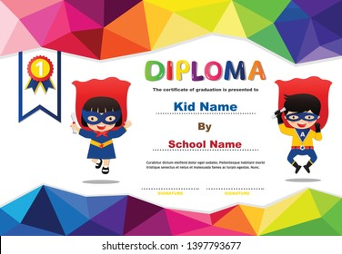 Preschool Superhero kids boys and girls Diploma certificate colorful background design template