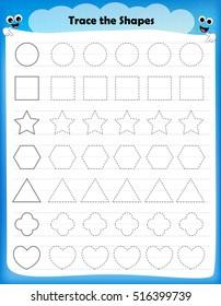 Preschool worksheet for kids. tracing shapes writing practice