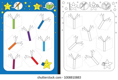 Preschool worksheet for practicing fine motor skills - tracing dashed lines of book covers