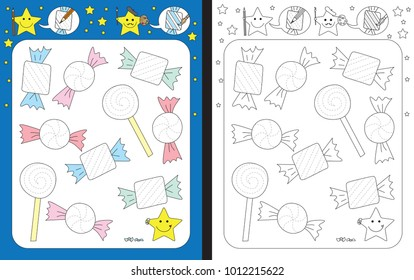 Preschool worksheet for practicing fine motor skills - tracing dashed lines of candy wrappers