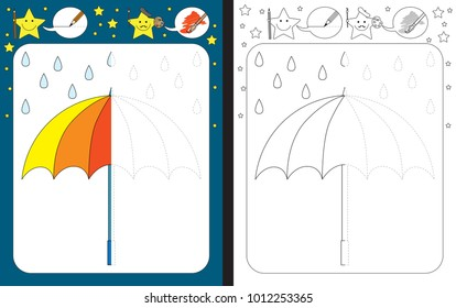 Preschool worksheet for practicing fine motor skills - tracing dashed lines - finish the illustration of an umbrella