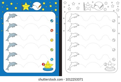 Preschool worksheet for practicing fine motor skills - tracing dashed lines from dolphins to balls