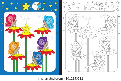 Preschool worksheet for practicing fine motor skills - tracing dashed lines of butterfly antennae
