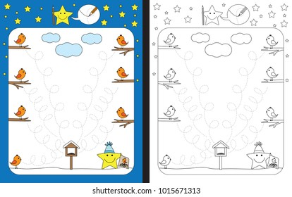 Preschool worksheet for practicing fine motor skills - tracing dashed lines from birds to seeds